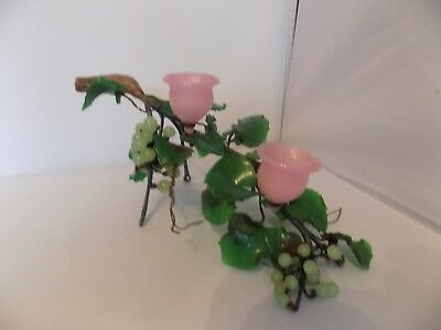 Chinese Jade/ Hardstone Carved  Grapes , Leaves & Pink Cups
