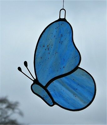 Stained Glass Window suncatcher (Butterfly) blue and amber streaky glass