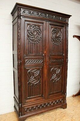 French Gothic Antique Armoire Carved in Oak Excellent Detail