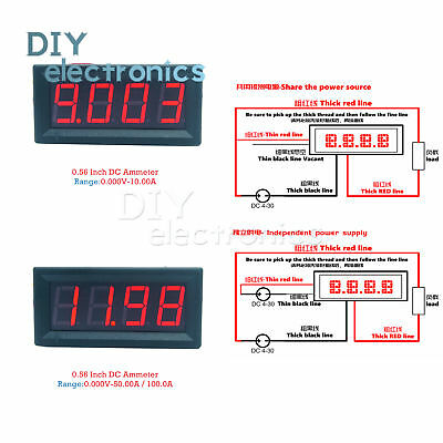 DC 0-10A/0-50A/0-100A 0.56inch 4-digit LED Panel Digital Ammeter Red US