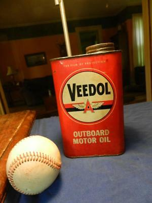 Veedol Outboard Motor Oil Can Nice Condition 1/2 Full