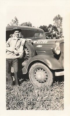 1940  Schofield Barracks soldier  with Army truck /car  Hawaii  Photo