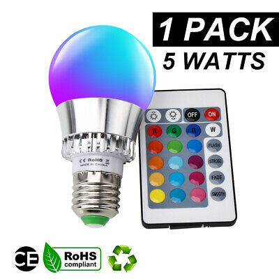 16 Color Changing Magic Light E27 5W RGB LED Lamp Bulb with IR Remote Control US