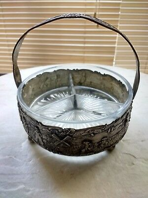 "Vintage ""P & B"" Paye & Baker Dutch Silverplate Gilt-Metal Glass Divided Dish"