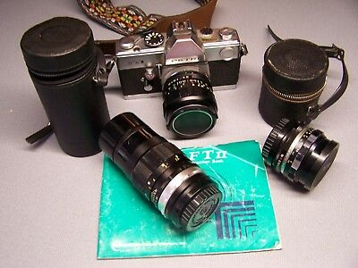 Vintage PETRI FTII 35mm Camera with 2 Extra Lenses & Instruction Book