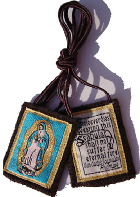 Traditional Our Lady of Mt. Carmel Brown Scapular w/Our Lady of Guadalupe Image
