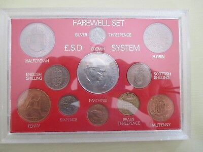 British Coin Set Farewell To Sterling System Mint Sealed Silver Threepence