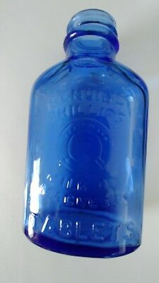 """5"""" Phillips Milk of Magnesia Tablet Blue Glass Bottle  made in USA empty"""