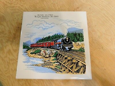 British Columbia Royal Hudson N.2860 Locomotive TrainHeadford Ceramics 6x6 Tile