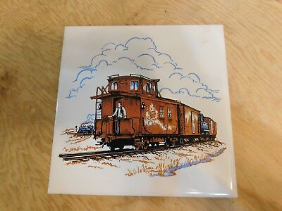 CNR Caboose Train Headford Ceramics 6x6 Tile or Coaster Cork Backing w/ Hanger