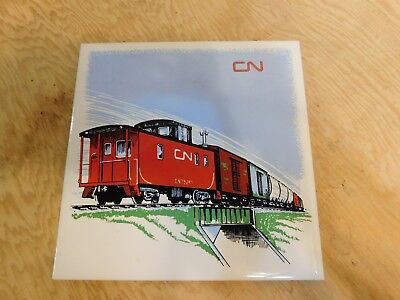 CN Train Caboose Headford Ceramics 6x6 Tile or Coaster w/ cork Backing &Hanger