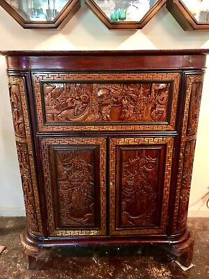 Antique Chinese Lacquered Carved Camphor Wood Bar,cabinet