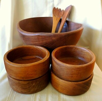 Vintage Teak Wood Salad Bowl Set