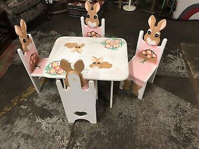 Easter Table & 4 Chairs Child's Dining Set Rabbit Theme Vintage 1993 Wood