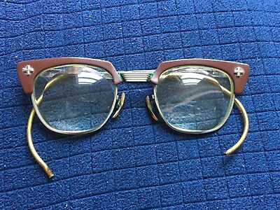 Bausch & Lomb Safety Eyeglasses Metal Frames Horn 46[B&L]22 (6 1/2) w/case THICK