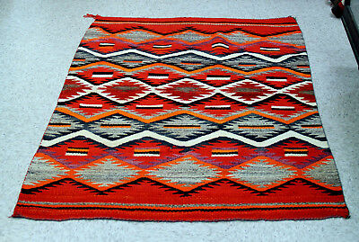 """Antique circa 1880 Navajo  Soft Transitional Blanket / Rug 60"""" x43"""" for wall etc"""