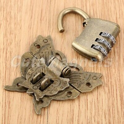 Retro Style Butterfly Box Latch Clasp with Chinese Password Padlock Lock Key Set