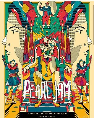 Pearl Jam Barcelona Concert Show Poster by Van Orton. July 13th.