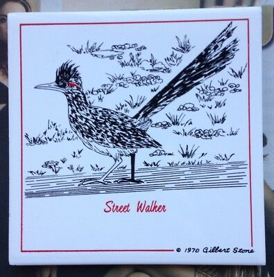 Bird Art Tile Road Runner by Gilbert Stone Street Walker 1970