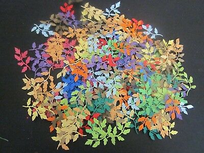 Die Cut   Leaves 41 Mixed Colourful Shades  Coloured Sharp Leaves