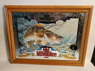 Old Milwaukee Beer Wildlife Mirror Sign WALLEYE Fishing with Lure Fish