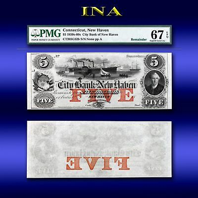Connecticut Bank of New Haven $5 Superb Unc PMG 67 EPQ Perfect Margins & White