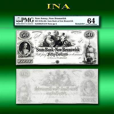 New Jersey Newton Sussex Bank $50 Obsolete Currency  Choice Crisp Unc PMG 64