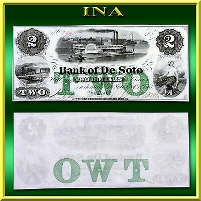 Nebraska Bank of De Soto $2 Obsolete Currency Gem Crisp Unc Very White & Vivid