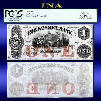 New Jersey Newton Sussex Bank $1 Obsolete Currency  Gem Crisp Unc PCGS 65 PPQ