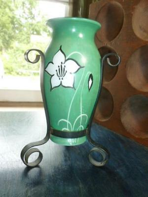 """Vintage Hand Painted Milk Glass Vase Flower Design Wrought Iron Stand 7.5"""""""