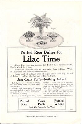 Puffed Rice Dishes Lilac Time Just Grain Puffs Nothing Added Cereal Vintage Ad