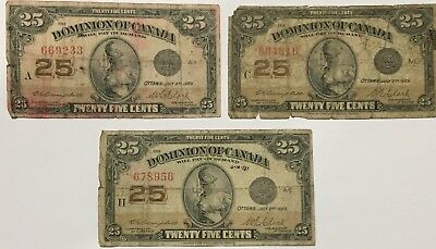 3 - 1923 Dominion Of Canada 25 Cent Fractional  Notes #233 616 956