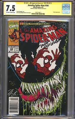 AMAZING SPIDER-MAN 346 CGC SS 7.5 Signed by editor Danny Fingeroth VENOM Cover