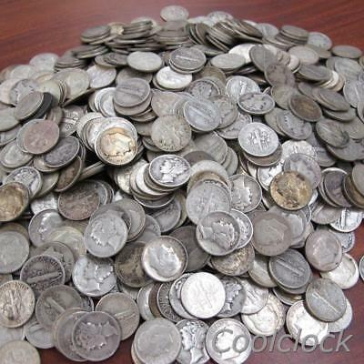 760 Pc Lot Silver Roosevelt Mercury Dimes Used Circulated Unsorted $76 Face #Y34