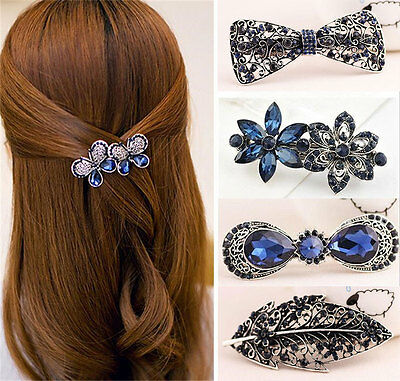 Vintage Women's Crystal Flower Leaf Hair Pin Barrette Hairpin Clips Accessories