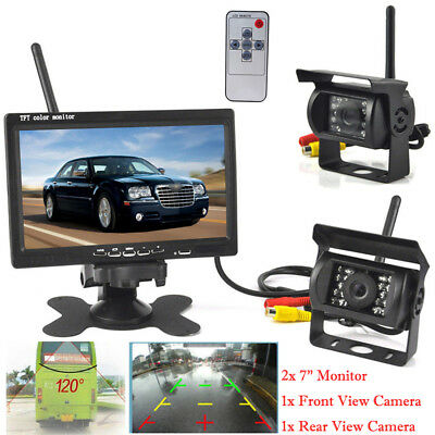"7"" Rear View Monitor+2X Wireless Reverse Backup Camera Night Vision RV Truck Bus"
