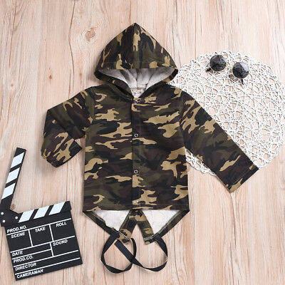 Camo Jacket Kids Toddler Baby Boys Girls Long Sleeve Coat Outwear Clothes 0-24M