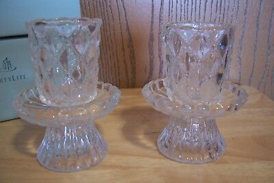 Partylite Quilted Crystal Pair Votive Or Taper Versatile Candle Holder P9246 Nib