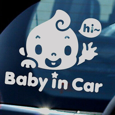 """Chic """"Baby In Car"""" Waving Baby on Board Safety Sign Cute Car Decal Vinyl Sticker"""