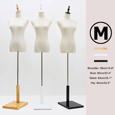 M-Size Female Mannequin Torso Dress Form Adjustable Dressmaker Display With Base