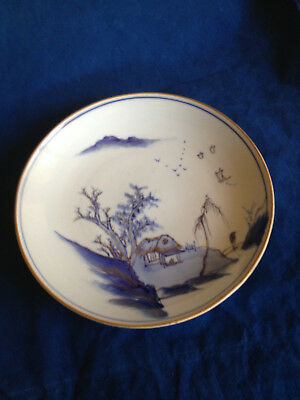 Antique Japanese plate handpainted plate gold leaf edge and details