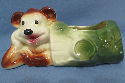 """Vintage American Bisque Art Pottery Planter """"Bear in the Log"""""""