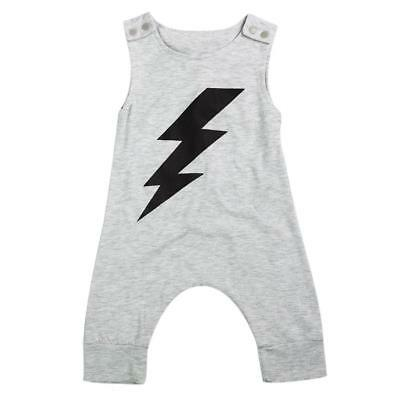 Unisex Infant Clothing Sleeveless Romper Lightning Printed Jumpsuit Cotton New