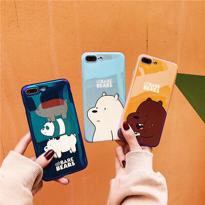 uk availability 39e0b 8aba5 CARTOON WE BARE Bears Phone Case TPU Silicone Cover For iPhone X 8 7 6/6S  Plus
