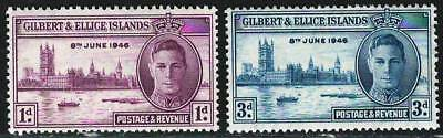 GILBERT & ELLICE ISLAND 1946 Very Fine MNH Stamps George Palace Boat Peace Issue
