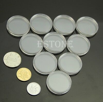 10pcs 27mm Clear Round Cases Coin Storage Capsules Holder Round Plastic Lot
