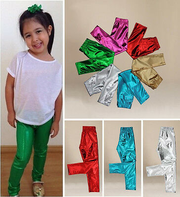 US Stock Solid Toddler Kids Baby Girl Shiny Pants Skinny Leggings Pants Trousers