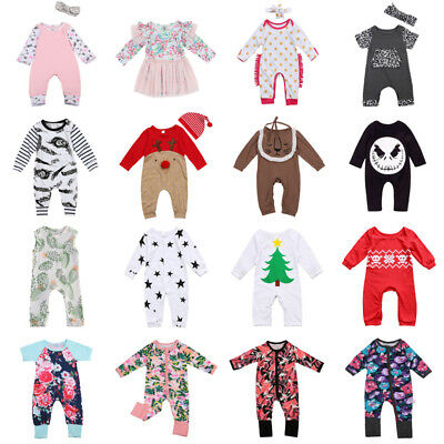 UK Toddler Newborn Baby Boy Girl Romper Bodysuit Jumpsuit Outfits Clothes lot