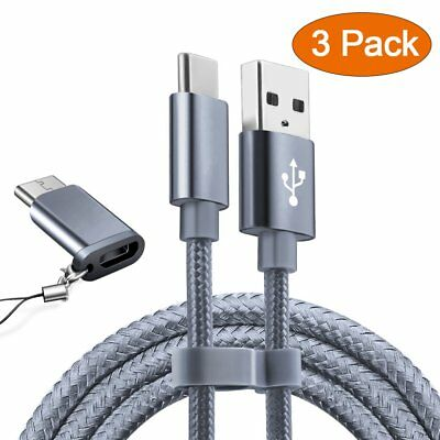 USB Type C Cable OULUOQI USB C Cable 3 Pack(6ft) Nylon Braided Fast Charger