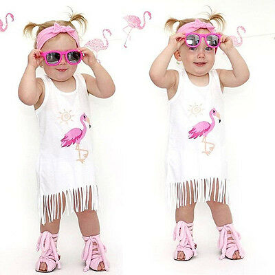 UK Stock Kid Baby Girl Flaminigo Casual Tassel Party Pageant Cotton Summer Dress
